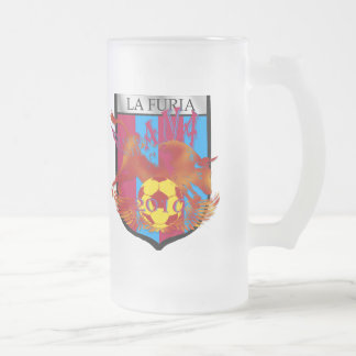 La furia futbol fans soccer shield gifts frosted glass mug