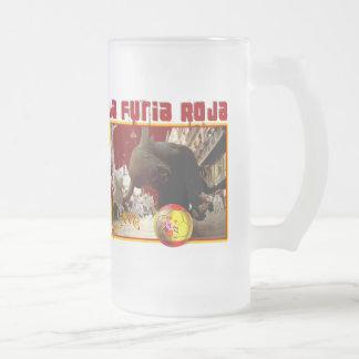 La Furia Roja Raging Bull Futbol Champions 2008 Frosted Glass Mug
