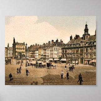 La Grande Place, Lille, France vintage Photochrom Poster
