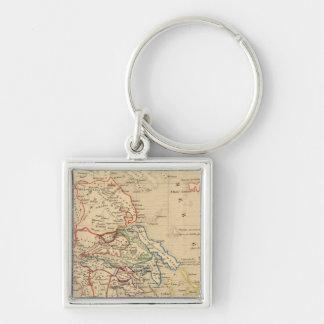 La Grece et partie de l'Asie Mineure, av JC 1190 Silver-Colored Square Key Ring