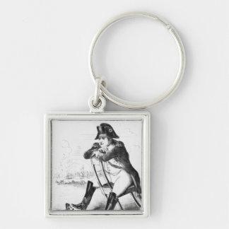 La Grenouille et le Boeuf Silver-Colored Square Key Ring