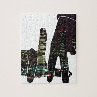 LA hands skyline Jigsaw Puzzle