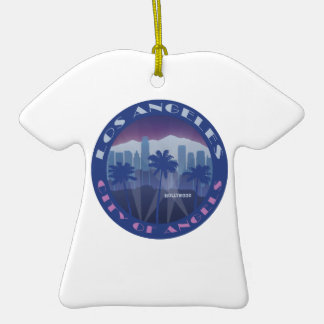 LA Hollywood cool Double-Sided T-Shirt Ceramic Christmas Ornament