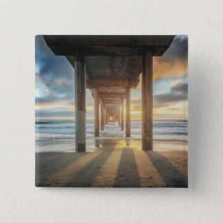 La Jolla, Scripps'S Pier At Sunset | San Diego 15 Cm Square Badge