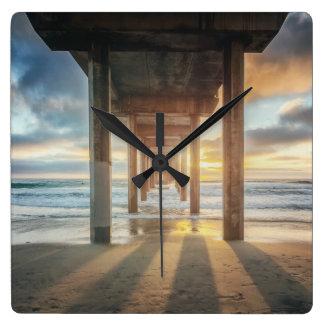 La Jolla, Scripps'S Pier At Sunset | San Diego Square Wall Clock