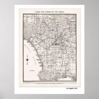 LA Map 1925 Poster