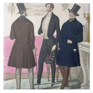 La Mode: Advertisement for 19th Century Men's Fash Large Square Tile