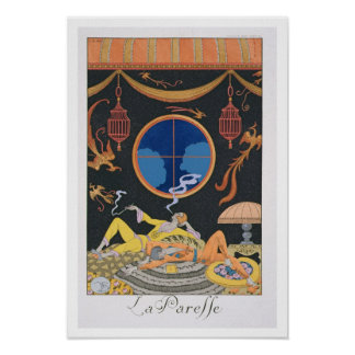 La Paresse, 1924 (pochoir print) Poster