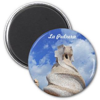 La Pedrera chimneys 6 Cm Round Magnet