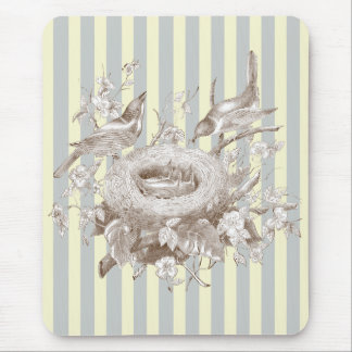 La Petite Famille on blue and cream background Mouse Pad