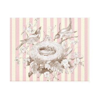 La Petite Famille on pink and cream background Canvas Print