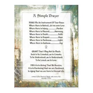 La Piazza Simple Prayer For Peace by St Francis Postcards