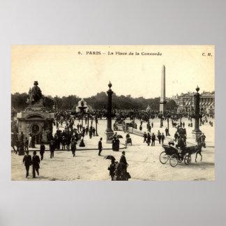 La Place de la Concorde Paris Vintage c1910 Poster
