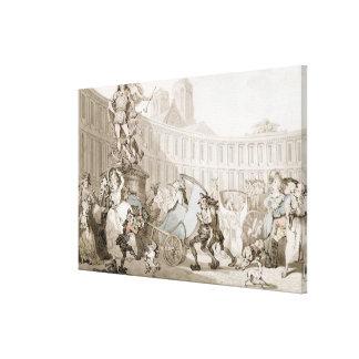 La Place des Victoires, Paris, c.1789 (pen and ink Canvas Print