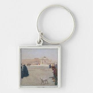 La Place du Carrousel, Paris Silver-Colored Square Key Ring