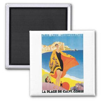 La Plage De Calvi. Corse Square Magnet