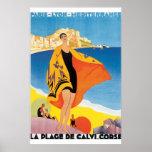 La Plage de Calvi Corse Vintage Travel Poster