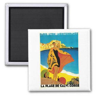 La Plage de Calvi Vintage France Travel Art Square Magnet