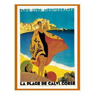La Plage de Calvi Vintage Travel Poster Post Cards