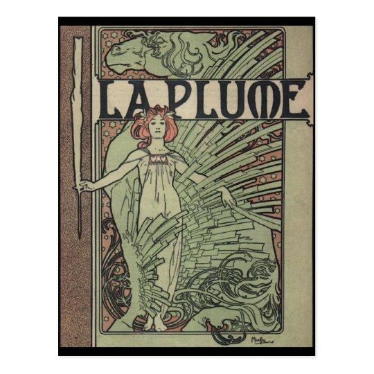 La Plume By Alfons Mucha Postcard