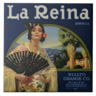 La Reina Orange Crate Label Ceramic Tile