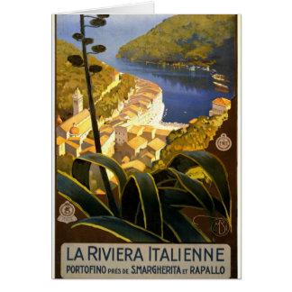 La Riviera Italienne Portofino Travel Poster 1920 Card