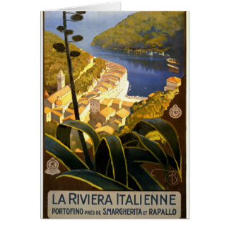 La Riviera Italienne Portofino Travel Poster 1920 Greeting Card