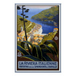 """La Riviera Italienne"" Vintage Travel Poster"