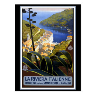 """La Riviera Italienne"" Vintage Travel Poster Postcard"