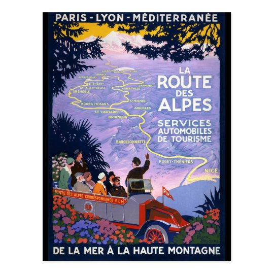 La route des Alpes Vintage Travel Poster Postcard