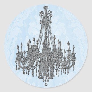 La Silver Sparkle and Damask Blue Chandelier Seal Round Sticker
