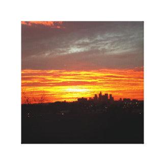 LA Sunset Stretched Canvas Print