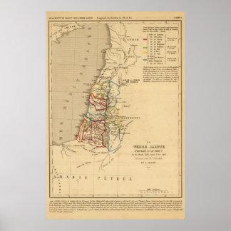 La Terre Sainte partagee en 12 tribus Poster