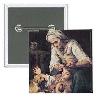 La Toilette Domestique', 1670-75 15 Cm Square Badge