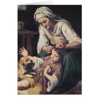 La Toilette Domestique', 1670-75 Greeting Card