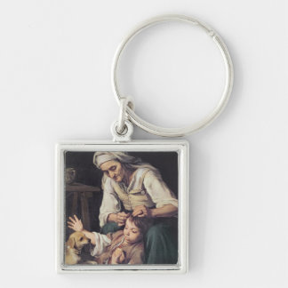 La Toilette Domestique', 1670-75 Silver-Colored Square Key Ring
