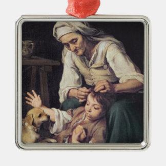 La Toilette Domestique', 1670-75 Silver-Colored Square Decoration