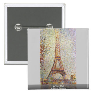 La Tour Eiffel By Seurat Georges 15 Cm Square Badge