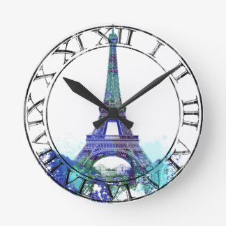 La tour Eiffel  color splash Round Clock