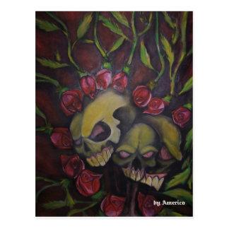 la vida viene con rosas postcard