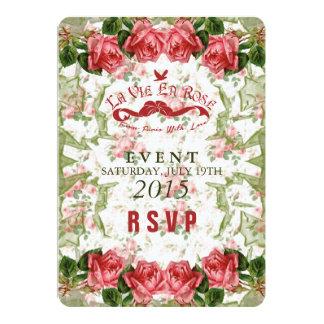 "La Vie En Rose - RSVP, Reply Card 5"" X 7"" Invitation Card"