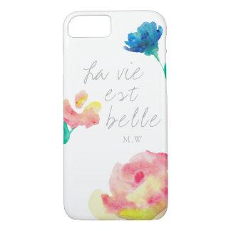 La vie est belle, elegant, simple, monogram iPhone 8/7 case
