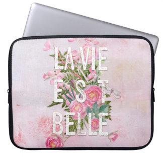 La vie est belle-Flower Floral Life Beautiful Laptop Sleeves