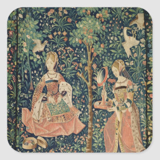 La Vie Seigneuriale: Embroidery, c.1500 Square Sticker