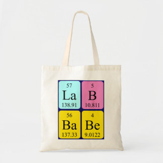 Lab Babe periodic table name tote bag