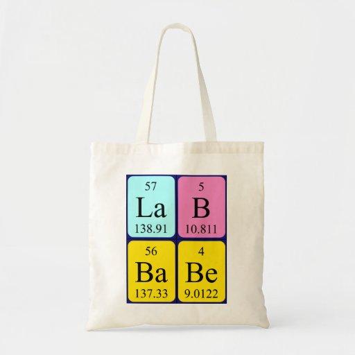 Lab Babe periodic table name tote bag