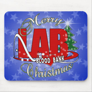 LAB BB BLOOD BANK MERRY CHRISTMAS LABORATORY MOUSE PAD