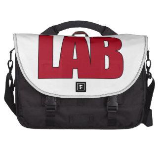 LAB - BIG RED BOLD MEDICAL LABORATORY LOGO LAPTOP COMPUTER BAG