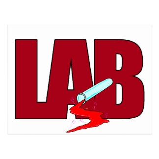 LAB BIG RED LETTERS LABORATORY POSTCARD