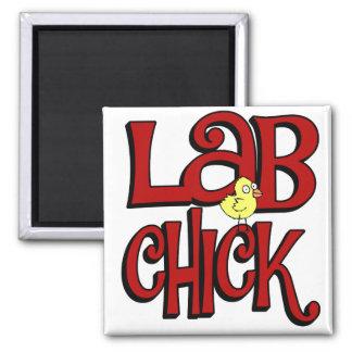LAB CHICK - LABORATORY GIRL SLANG / HUMOR SQUARE MAGNET
